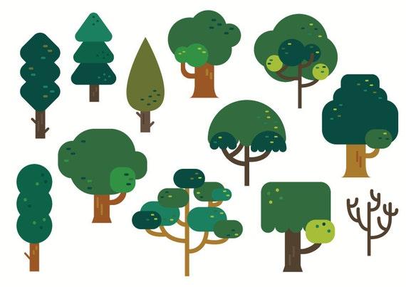 Tree Clipart Cute Clipart Tree Vector Nature Green Etsy