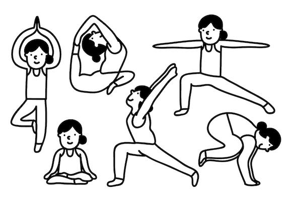 Yoga Vector People Clipart Cute Character Clipart Cartoon Etsy