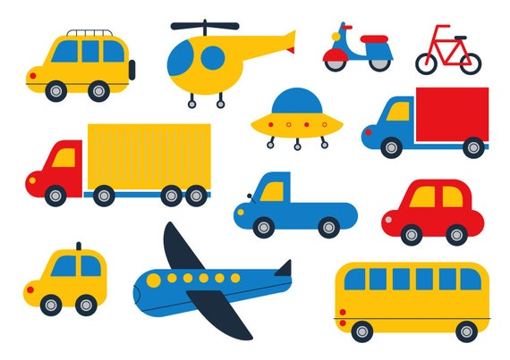 Car Clipart Cute Clipart Transport Vector Plane Bicycle