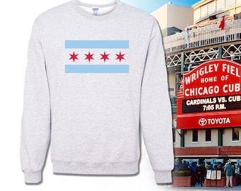USA Vintage Chicago Flag Novelty Toddler Kid Baby Boys Girls Long Sleeve Tee Clothing