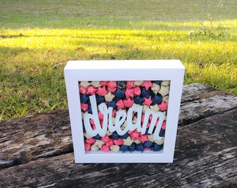 Dream Origami Shadowbox, Origami Shadow Box, Boho Art, Shadow Box Art, Origami Stars, Origami Art, Dream Decor, Dream Wall Art, Lucky Stars