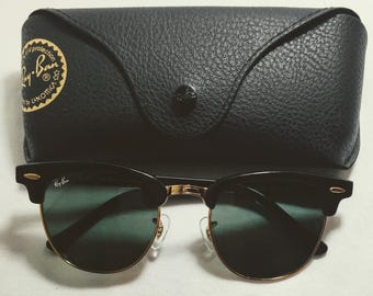 3d6b11ce45be Vintage Ray Ban Clubmasters Shiney Black Gold G-15 RB3016 Sunglasses 51-21