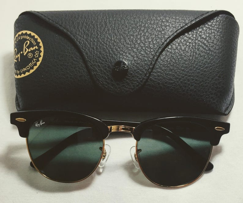 e91ad6f16a8 Vintage Ray Ban Clubmasters Shiney Black Gold G-15 RB3016