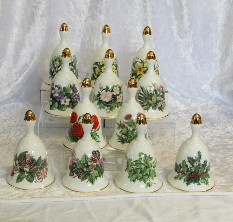 Complete set of 12 Danbury Mint Summer Collection Bells