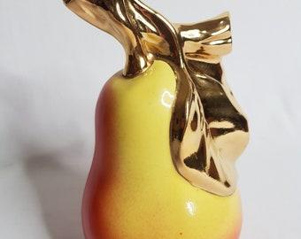 Liqueur bottle in the shape of a pear, vintage ceramic, 1970