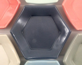 Navy Gray Hexagon Tessellation Plate