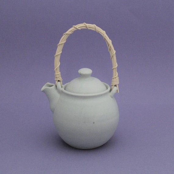 Periwinkle Teapot with Reed Handle