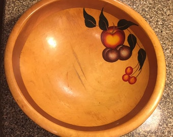 Footed Wooden Bowl