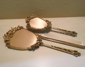 Vanity Hair Brush Comb And Mirror Set