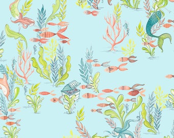 Mermaid Days - At the Bottom of the Sea Light Blue by Cori Dantini for Blend Fabrics - 1 yd