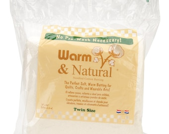 "Warm & Natural Cotton Batting - Twin Size 72"" x 90"" - 2391WN"
