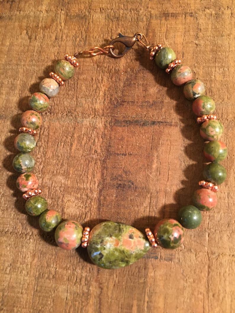 jewelry set unakite beads bracelet helper jewelry accessory beaded bracelet gift for her