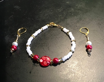 Valentines Day Bracelet and Earrings Set