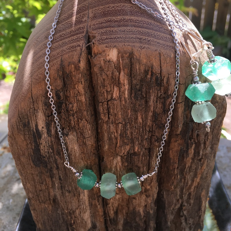 Sea glass, jewelry set