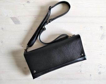 Black leather envelope bag, Thick leather minimal bag, Little black bag, Minimalist small shoulder bag, Elegant evening purse clutch