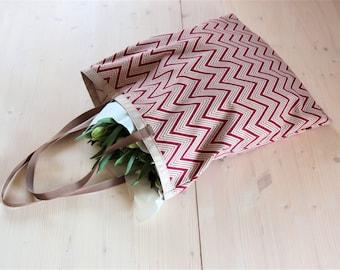 Herringbone print canvas tote bag, Oversized canvas shopper bag, Cotton shoulder shopping bag, Large shopping tote bag, Christmas gift bag