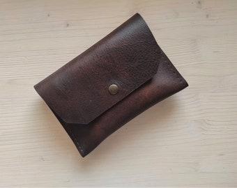 Brown full grain leather passport case, Thick natural leather passport wallet, Minimalist passport holder, Small document case / organizer