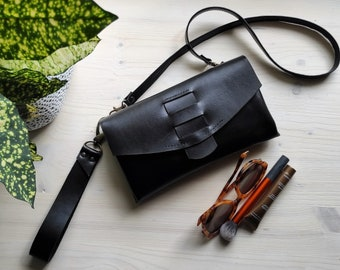 Black envelope clutch bag with long strap, Black leather evening purse with wrist strap, Minimalist wristlet clutch purse, Little black bag