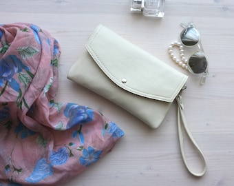 White Leather Clutch, Bridal Clutch, Envelope Clutch, Leather Clutch, Wedding Clutch, Wedding purse, White Pouch, Wristlet Clutch, Clutch