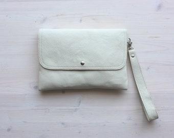White Leather Clutch, Leather Clutch, Evening Clutch, Bridesmaids Clutch, Envelope Clutch, Clutch Bag, Leather Envelope, Wedding Clutch