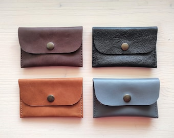 Leather credit card wallet for up to 10 cards, Simple credit card case, 2 compartments, Leather card holder, Envelope mini wallet for cards
