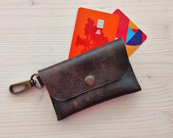 Brown leather credit card wallet with a carabiner hook clip for up to 10 cards, Minimalist brown card case, Envelope card holder with clip