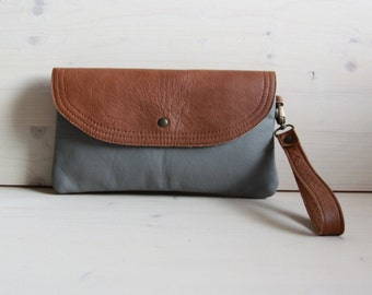 Ginger brown and grey leather clutch bag, Leather evening clutch, Grey clutch pouch, Soft leather envelope purse, Leather wristlet clutch