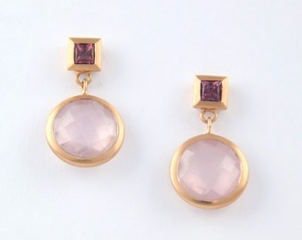 Earrings MOON 18kt rose gold with Rose Quartz and Rhodolite