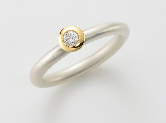 Ring With Diamond In Silver And 18kt Yellow Gold Diamond Etsy