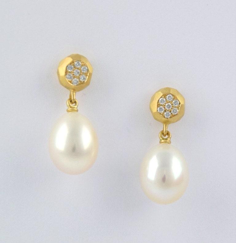 Ohrstecker Diamanten Und Perlen, 18 Kt Gold Mit Diamant