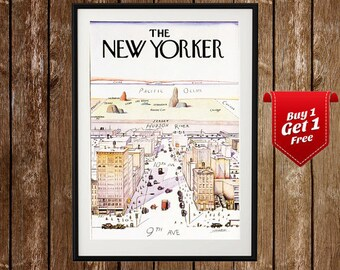 The New Yorker Magazine Cover Print - New Yorker Poster, New Yorker Cover Art ,  New Yorker Magazine, New York Poster, NY City Illustration