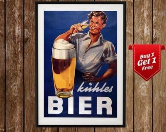 Vintage German Beer Ad - Kuhles Bier, Old Beer Advert, Retro Beer Sign, German Ad, Beer Poster, Vintage Beer Print, Vintage Beer, Retro