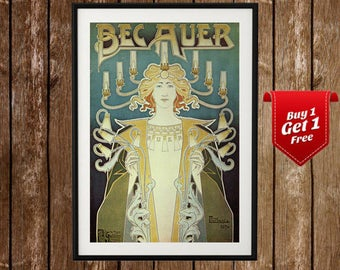 Bec Auer - French Art, Art Nouveau poster, Art Nouveau Print, Henri Privat - Livemont, Vintage French Poster, Old Poster, French Art