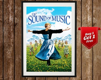 The Sound Of Music Vintage Movie Poster - Sound Of Music Print, Julie Andrews, Christopher Plummer, Musical Print, Vintage Movie Print