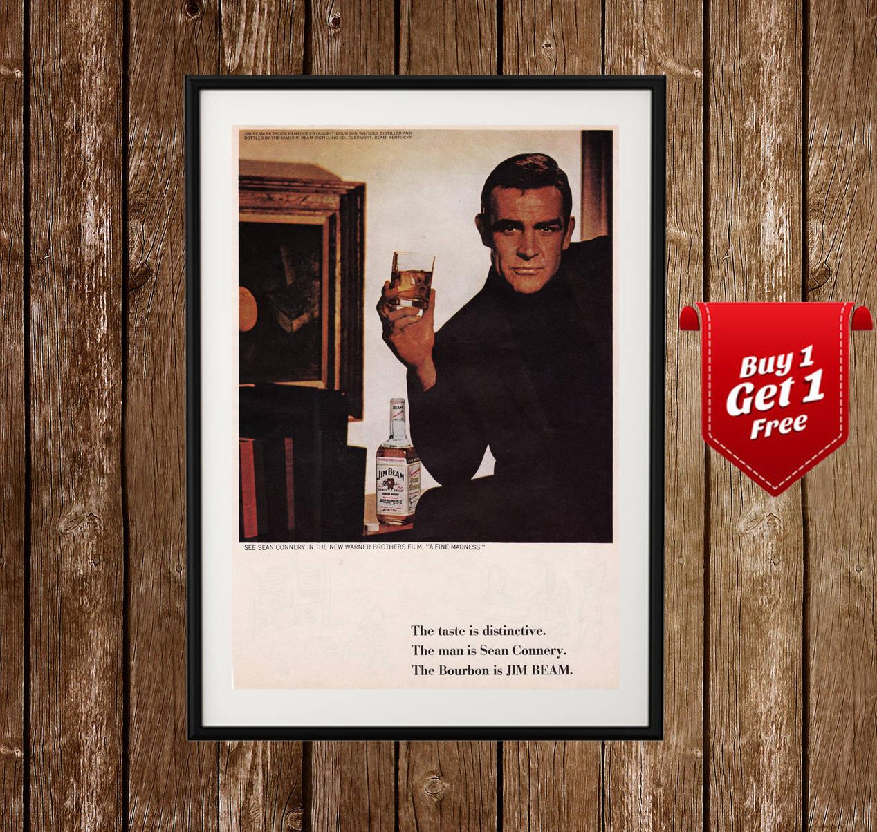Jim Beam Vintage Ad Sean Connery Poster Jim Beam Print | Etsy