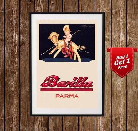 Superbe Barilla Poster Barilla Ad Kitchen Poster Pasta Food   Etsy