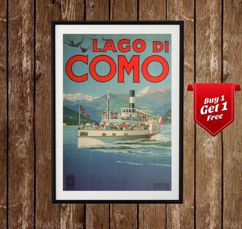 c7874b720dc Lago di Como Vintage Travel Poster Lake Como Print Italy