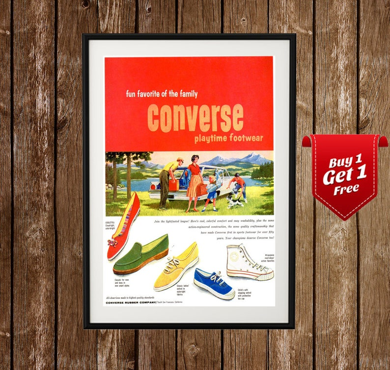 5b20a4323eda Converse Vintage Ad Converse Shoes Poster Old Converse All
