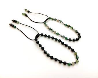 MOSS agate and glass friendship bracelets