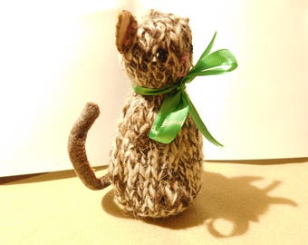 Little Cat Hand Knitted Pure Orkney Wool Cat Waldorf Hand Crafts