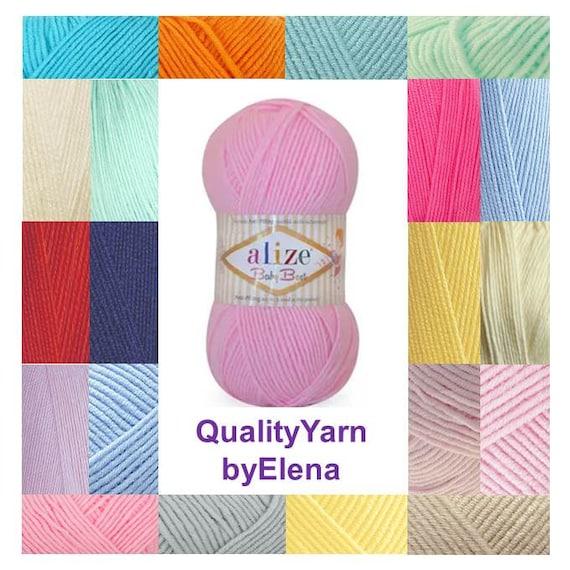 fil /à tricoter Alize Baby Best Fil /à tricoter classique 10 /% bambou 90 /% acrylique couleur 184 acrylique anti-boulochage fil /à tricoter /à la main 3 pelages 300 g