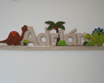 Dinosaurs, custom felt letters, custom felt name, felt decoration, handicraft, dinosaur, felt letter.