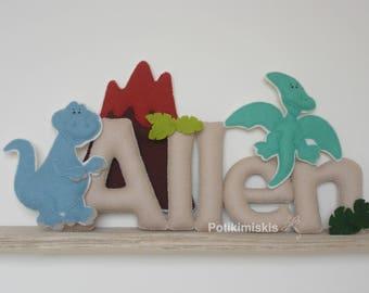 Dinosaurs, custom felt letters, custom felt name, felt decoration, handicraft, dinosaur, felt letter,