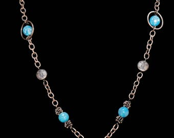 Turquoise glass bead and copper necklace
