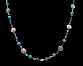 Colorful purple and aqua beaded necklace