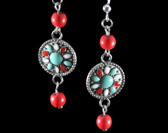 Fun red, white and turquoise earrings