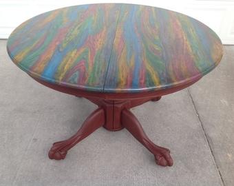 Dining Room Table, burned wood,