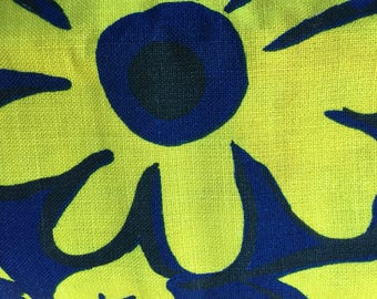 Vintage Blue and Yellow Floral Home Decor Remnants