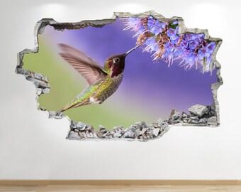 Bird Flower Wall Sticker 3d Look - Bedroom Lounge Nature Animal Wall Decal Z103