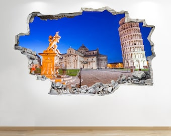 Leaning Tower Of Pisa Wall Sticker 3d Look - Bedroom Lounge City Wall Decal Z187